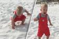 İlk kez kum gören çocuğun şaşkınlığı