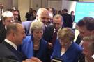 Erdoğan ve liderler maçın son anlarını cep telefonundan izledi