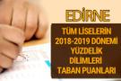 Edirne Lise taban puanları 2018 -2019 nitelikli okullar LGS yüzdelik dilimleri