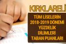 Kırklareli Lise taban puanları 2018 -2019 nitelikli okullar LGS yüzdelik dilimleri