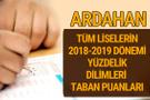 Ardahan Lise taban puanları 2018 -2019 nitelikli okullar LGS yüzdelik dilimleri
