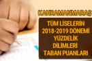 Kahramanmaraş Lise taban puanları 2018 -2019 nitelikli okullar LGS yüzdelik dilimleri
