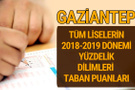 Gaziantep Lise taban puanları 2018 -2019 nitelikli okullar LGS yüzdelik dilimleri