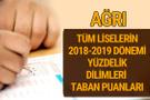 Ağrı Lise taban puanları 2018 -2019 nitelikli okullar LGS yüzdelik dilimleri