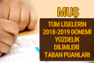 Muş Lise taban puanları 2018 -2019 nitelikli okullar LGS yüzdelik dilimleri