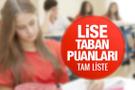 Lise taban puanları okul yüzdelik dilimleri MEB 2018 tam liste