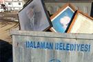 Atatürk'ü çöp kutusuna attılar