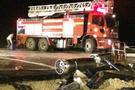 Oksijen tüplü kamyon kaza yaptı!