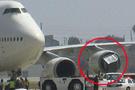 Uçağın motoruna konteynır kaçtı