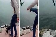 Kediyi tekmeleyerek denize attı