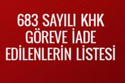 683 sayılı KHK göreve iade edilenlerin listesi 23 Ocak resmi gazete