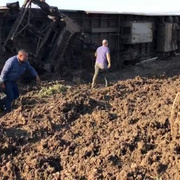 Tekirdağ Çorlu'da tren vagonu devrildi ilk fotoğraflar