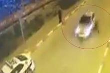 Aracını durdurmak isteyen polise çarpıp kaçtı