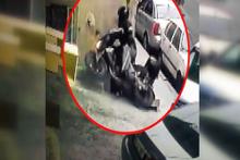 Motosiklet sürücüsünün hayrete düşüren kazası