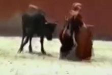 Boğadan kadına saldırı! Yüzlerce insanın önünde