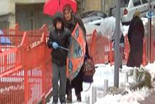 Öğrencilerin karla imtihanı