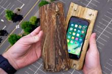 iPhone 7 oyulmuş kütük içerisinde fırlatılırsa!