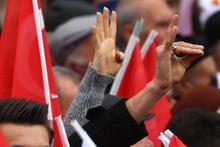 AK Parti mitingi'nde dikkat çeken görüntüler