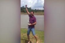 Drone ile balık tuttu