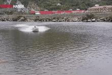Sürat teknesiyle hava atmaya çalışırken rezil oldu!