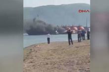 Kocaeli Körfezi'nde LPG tankeri yangın ilk görüntüler