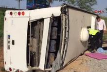 Konya'da otobüs devrildi, yaralılar var