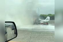 Çift motorlu uçak otobana düştü