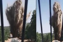 Yola tuzaklanan patlayıcı böyle imha edildi
