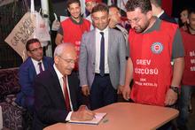 Kılıçdaroğlu, grev yapan işçileri ziyaret etti