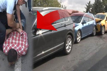 Kazalı aracını gören taksi sahibi ortalığı birbirine kattı!
