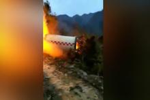 Çin'e düşen roket güçlendiricisi alevlere neden oldu