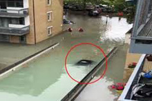 İngiltere'de otoparkta su borusu patladı