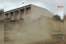 Ordu'da okulun istinat duvarı böyle çöktü!