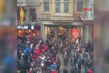 Trabzonspor taraftarlarının GS Store'a saldırısı kamerada