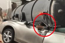 Dev tanker aracın üzerine düştü sürücü bu halde bulundu!
