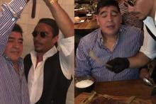 Nusret'in son konuğu efsane futbolcu Maradona oldu