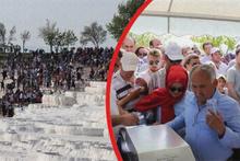 Pamukkale'ye ücretsiz giriş izdihamı: Yasak dinlemediler!
