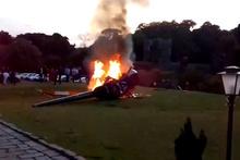 Faciadan böyle döndüler! Gelini getiren helikopter alev alev yandı