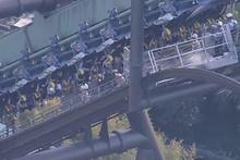 Hız treninde korku dolu anlar… Metrelerce yüksekte asılı kaldılar