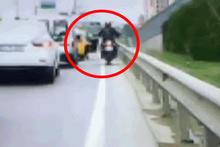 E-5'te dehşete düşüren kaza! Motosikletli ölümden döndü