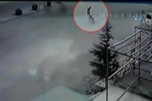 Köpekten kaçarken otomobil çarptı! O anlar kamerada