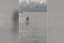 İnanılmaz anlar! Nehrin ortasında böyle görüntülendi