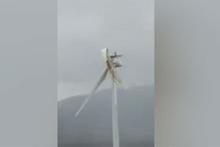 Rüzgara dayanamayan rüzgar türbini sosyal medyada olay oldu