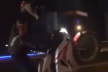 E-5 Karayolu'nda tek teker kazası kamerada