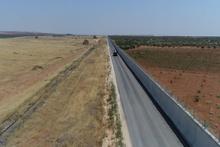 Suriye sınırına yapılan duvarlar havadan görüntülendi