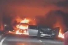Ordu'da selin ardından zincirleme trafik kazası! Otomobil alev aldı