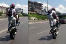 E-5 Karayolu'nda motosikletli magandanın tehlikeli tek teker şovu kamerada