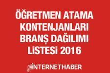 Öğretmen kontenjanları Şubat 2016 MEB tam liste
