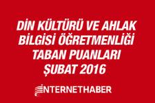 Din Kültürü öğretmenliği taban puanları 2016 MEB