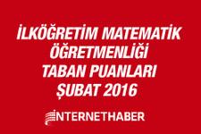 İlköğretim Matematik öğretmenliği taban puanları 2016 MEB